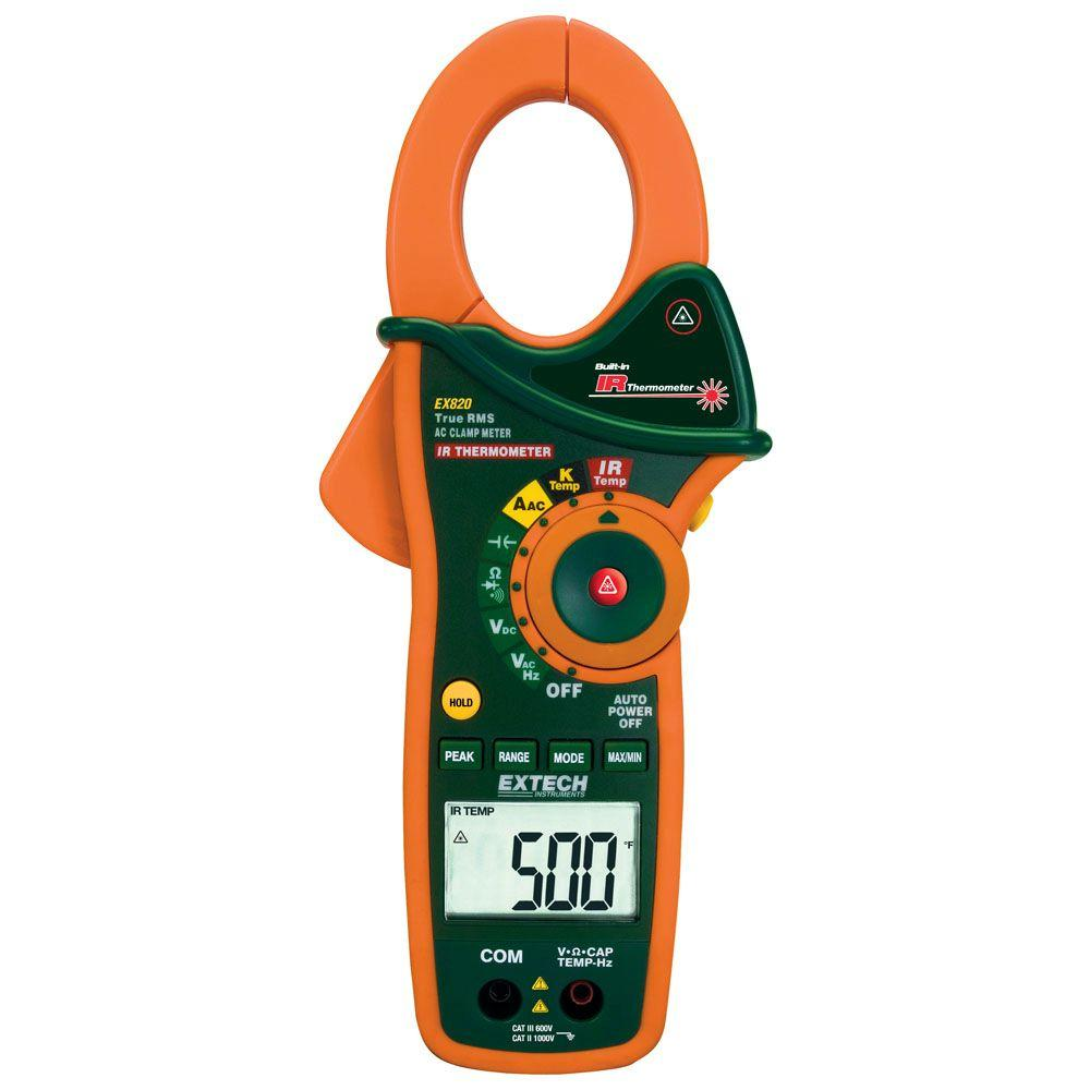 Manual Clamp DMM + IR Thermometer 1000-Amp AC