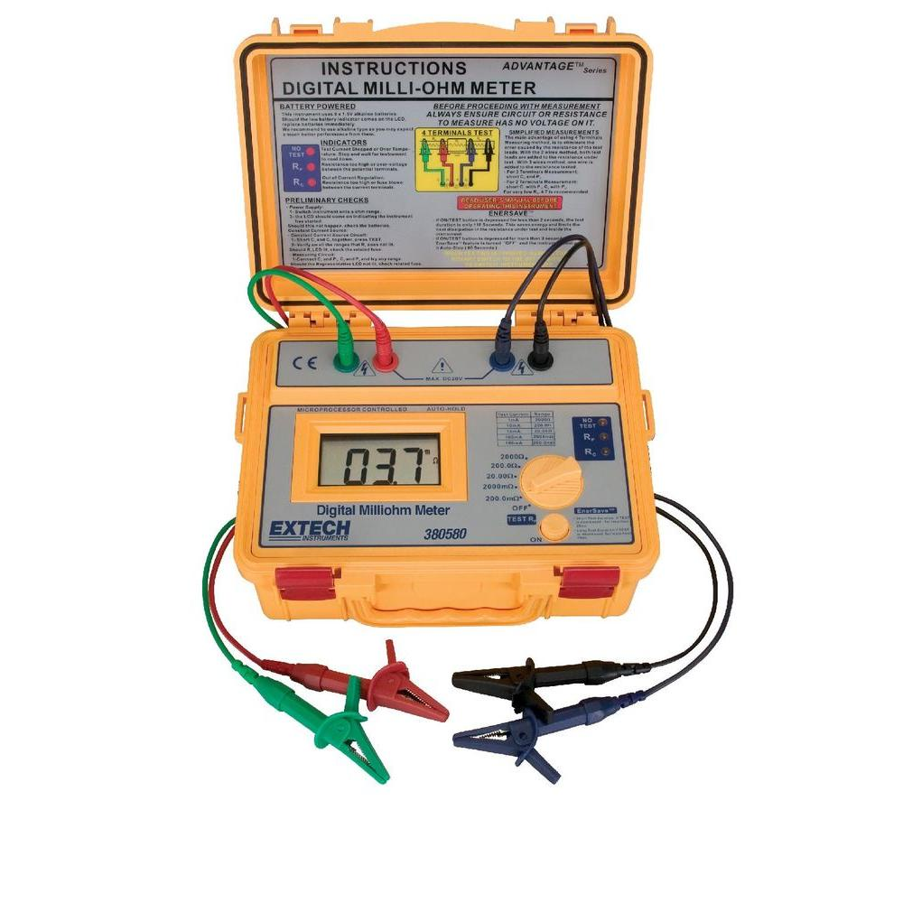 4-Wire and 4-Aligator Clip Digital Milliohm Meter with Battery Powered